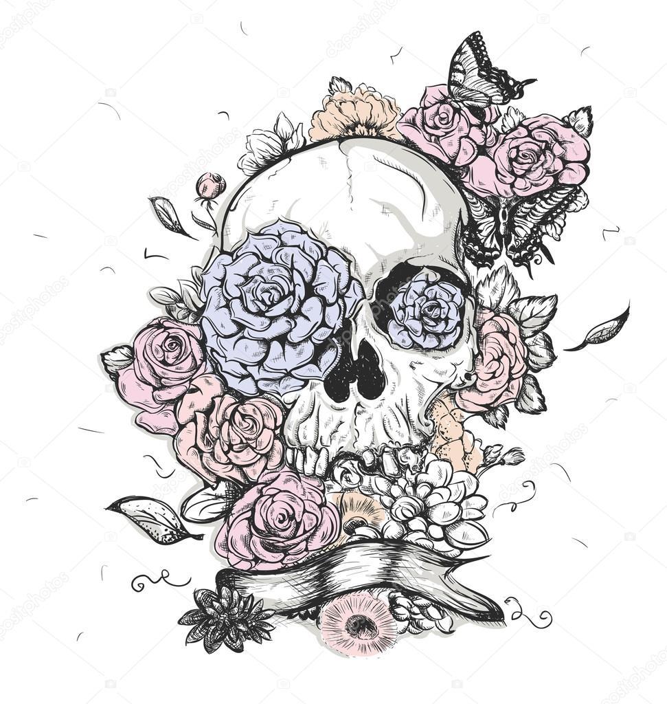 Caveira e flores dia de ilustração vetorial dos mortos