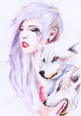 Beautiful girl with Wolves — Stock Photo