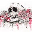 ������, ������: Skull with roses