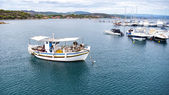 Aerial panoramic view of a marina with boats in Chalkidiki, Gree — Stock Photo