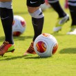 Europa League balls in net during Paok training — Stockfoto