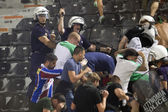 PAOK Thessaloniki against Rapid Vienna football match riots — Stock Photo