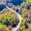 Railway line through a colorful mountain scene on an autumn — Stock Photo