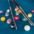 Foto de Stock  : Billiard balls on table.