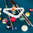 Photo: Billiard balls on table.