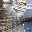 Mooring bollard with heavy duty mooring ropes — Stock Photo #39307595