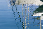 Reflection in a sea of yacht masts — Stock Photo