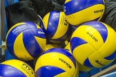 BASKET OF VOLLEYBALL BALLS — Stock Photo