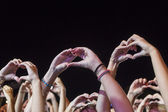 Hands of a crowd partying at a rock concert — Stock Photo