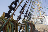 Sea hemp ropes and pulleys on the old nautical vessel — Stock Photo