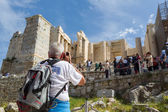 The Acropolis, Athens, with many sightseers — Stock Photo