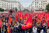 Pre-election concentration of Communist Party of Greece (KKE) at — Stock Photo