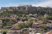 Monastiraki square and Acropolis in Athens, Greece. — Stock Photo
