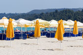 Closed parasols on the beach with sunchairs and umbrellas in the — Stock Photo