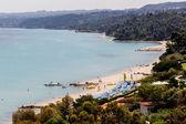 Kallithea sunny beach and summer resort at Kassandra of Halkidik — Stock Photo