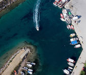 Aerial view of Potidea sea canal, an ancient town of Halkidiki, — Stock Photo