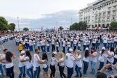 Rueda de casino flash mob, particular type of Salsa held in The — Stock Photo