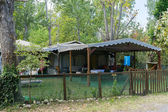 Caravan in organized camping in summertime in Asprovalta, Greec — Foto de Stock