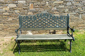Front view steel bench on green grass and brick wall background  — Stock Photo