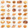 Collage of different cakes and sweets on white background — Stock Photo