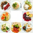 Eight different restaurant dishes top view with place for text — Stock Photo #42768691