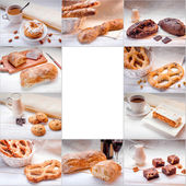 Collage with sweet food, coffee and bread with space for text  — Stock Photo
