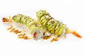Beautifull sushi roll on white background — Stock Photo