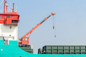 Cranes, lifting and placing of the load. — Stockfoto