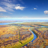 Top view to the lowland in autumn — Stock Photo