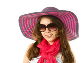 Girl in wide-hat — Stock Photo