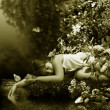 Sleep near by creek — Stock Photo
