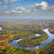 Stock Photo: Top view of forest river in autumn day