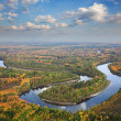 Top view of forest river in autumn day — Stock Photo