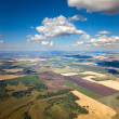 Aerial view of the countryside with fields of crops — Stock Photo