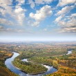 Top view to the river for autumn — Stock Photo