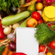 Notebook paper to write recipes and vegetables — Stock Photo #33521327