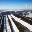 Aerial view of forest river in time of winter day. — ストック写真