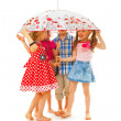 Barefoot children under an umbrella — Stock Photo
