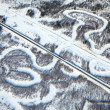 Aerial view of forest river in winter and railroad — Stock Photo #33521573