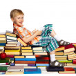 Little boy on a pile of books — Stock Photo #33521625