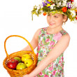 Eautiful girl with flowers and apples — Stock Photo