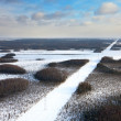 Aerial view of a river running through winter forest — Stock Photo