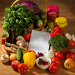 Notebook paper to write recipes and vegetables — Stock Photo