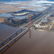 Aerial view of two bridges over the great river. — Stock Photo