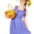 Beautiful girl with flowers and apples — Stock Photo