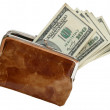 Stock Photo: Opened purse with dollars
