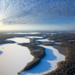 Stock Photo: Forest of plain and lakes in winter