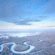 Top view of winter forest river — Stock Photo #33523359