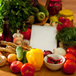Stock Photo: Notebook paper to write recipes and vegetables
