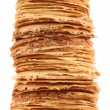 Very high pile of pancakes on plate — Stock Photo